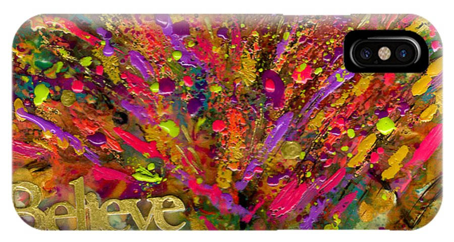 Wood IPhone X Case featuring the mixed media I Believe by Angela L Walker