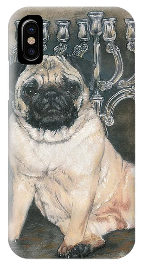 Pug IPhone X Case featuring the mixed media Gonna Wait Here by Barbara Keith