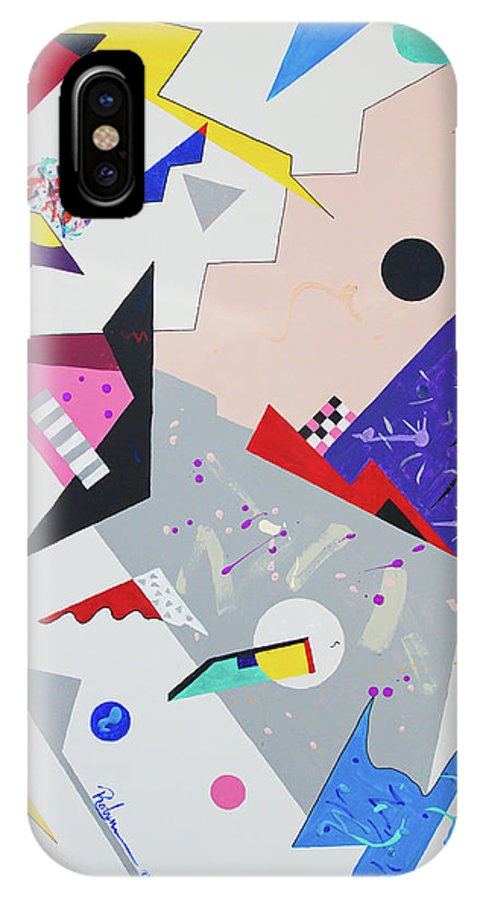 Abstract Contemporary Colorful Art IPhone X Case featuring the painting I Like That by Robyn Little