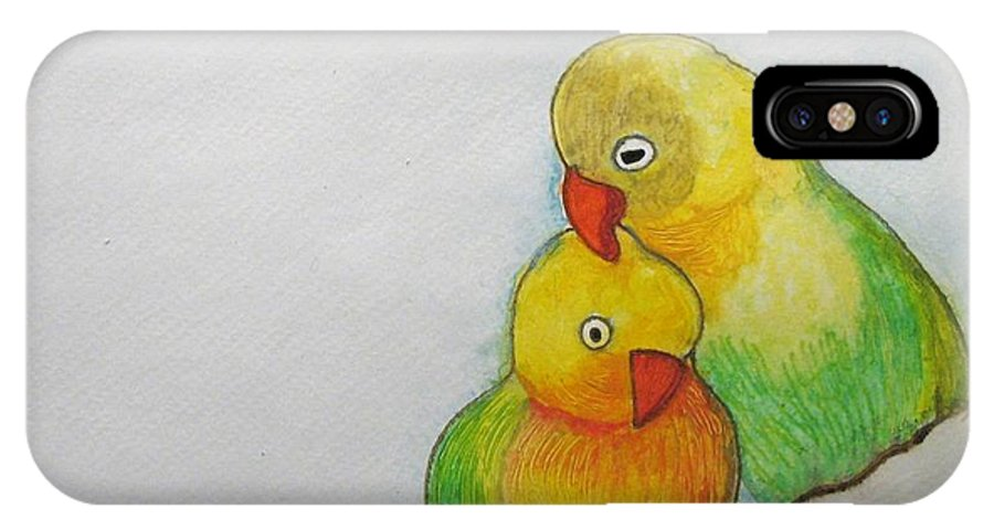 Parakeet IPhone X Case featuring the painting I Love You by Patricia Arroyo