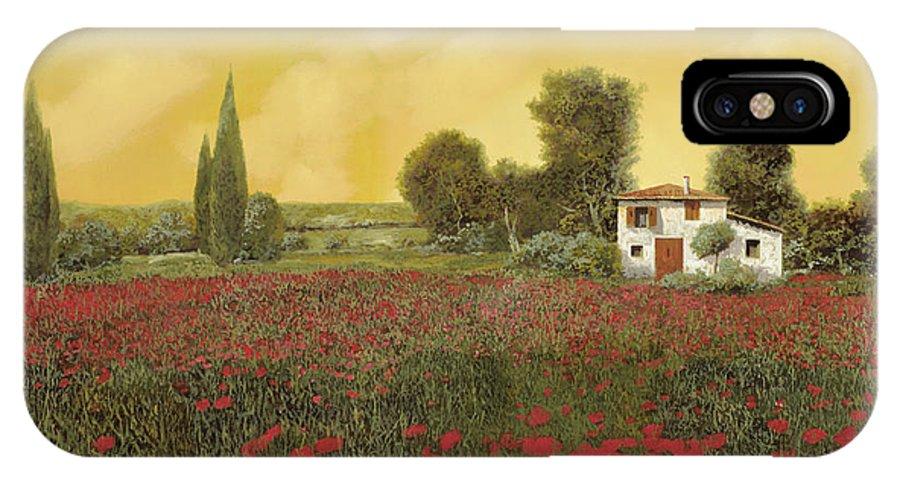 Summer IPhone X Case featuring the painting I Papaveri E La Calda Estate by Guido Borelli
