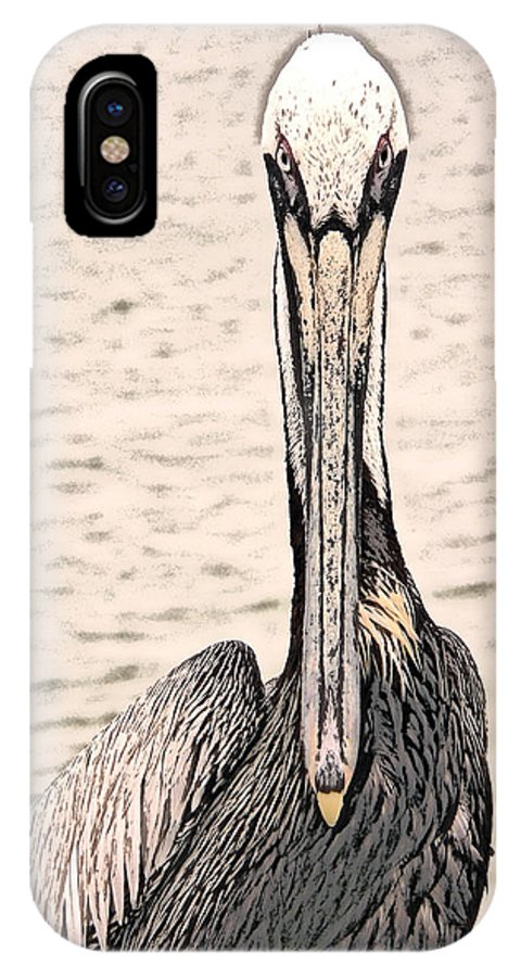 Brown Pelican IPhone X Case featuring the photograph I See You Too by Steven Sparks