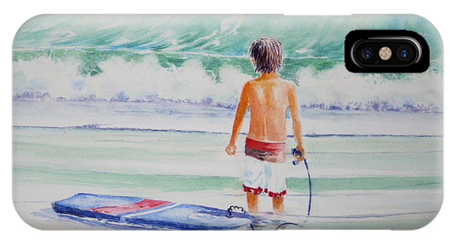Sea Scape IPhone Case featuring the painting I Think I Will Wait For Dad. by Tom Harris