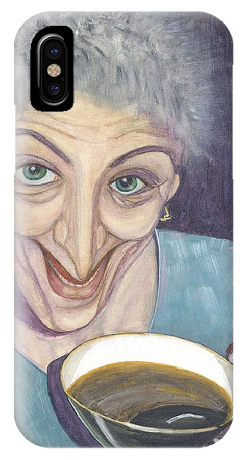 Portrait IPhone X / XS Case featuring the painting I Would Like To Try This One by Olga Alexeeva
