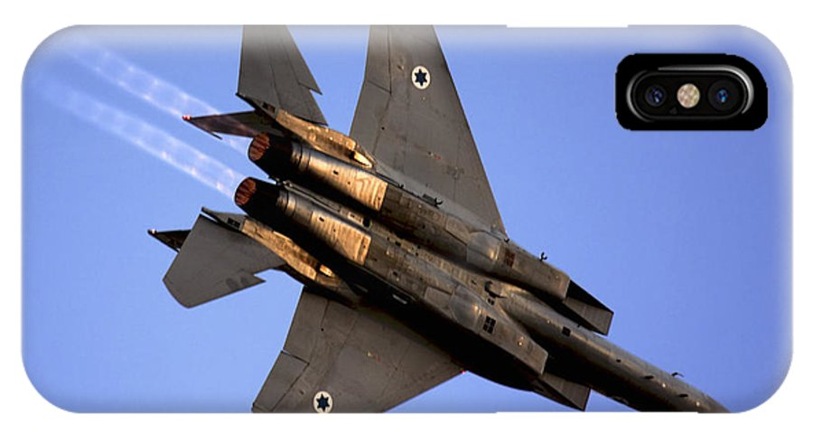 Aircraft IPhone X Case featuring the photograph Iaf F15i Fighter Jet On Blue Sky by Nir Ben-Yosef