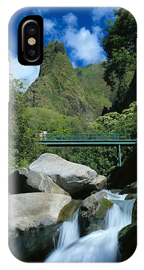 Blue IPhone X Case featuring the photograph Iao Needle and Creek by Carl Shaneff - Printscapes