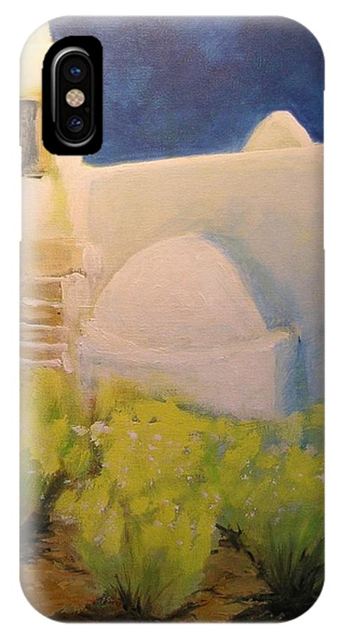 Landscape IPhone X Case featuring the painting Ibicencan Country House by Lizzy Forrester