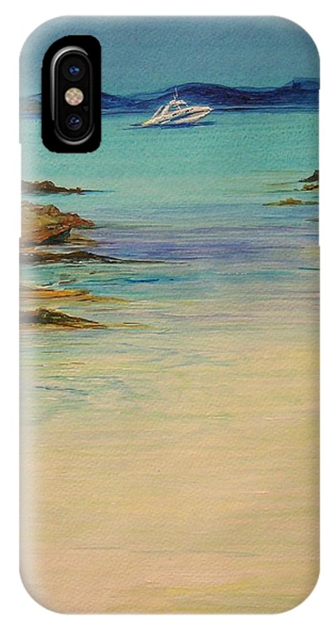 Seascape Original Painting IPhone X Case featuring the painting Ibiza In The Distance.... by Lizzy Forrester