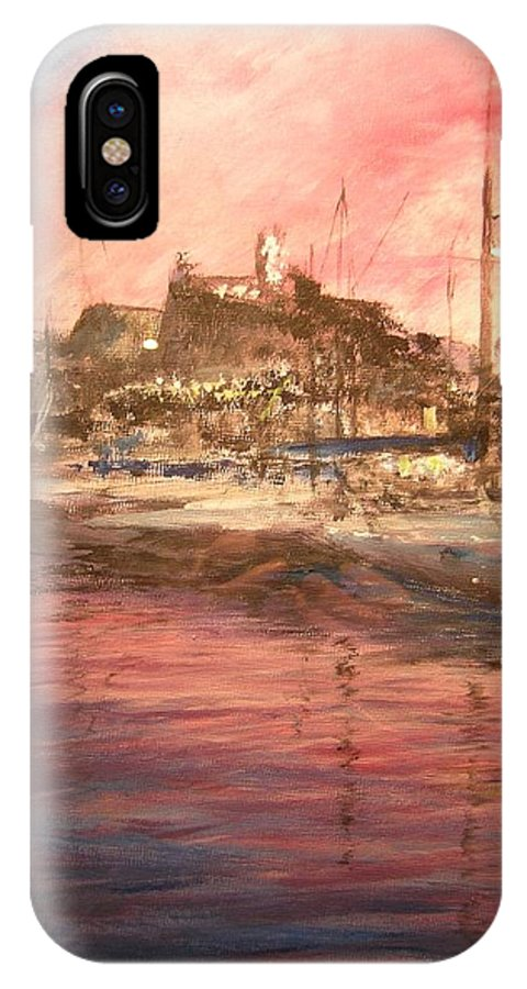 Yachts IPhone X Case featuring the painting Ibiza Old Town At Sunset by Lizzy Forrester