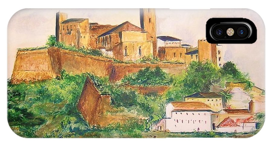 Landscape IPhone Case featuring the painting Ibiza Old Town Unesco Site by Lizzy Forrester