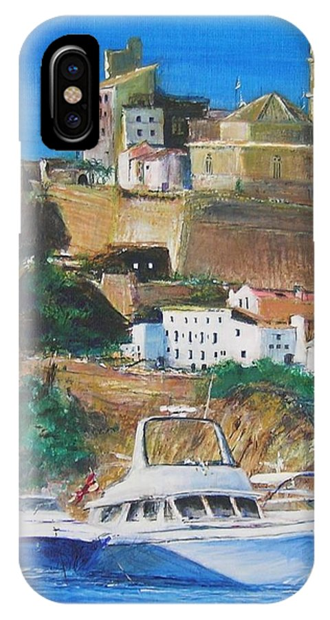 Original Landscape Painting IPhone X Case featuring the painting Ibiza Town by Lizzy Forrester