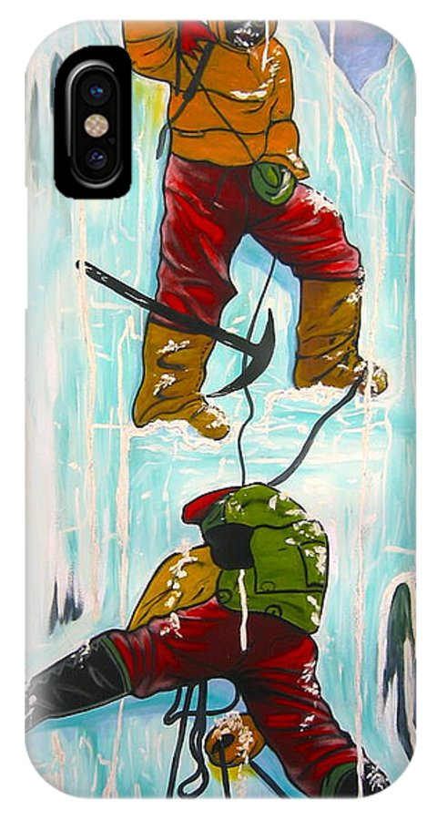 Abstract Sports IPhone X Case featuring the painting Ice Climbers by V Boge