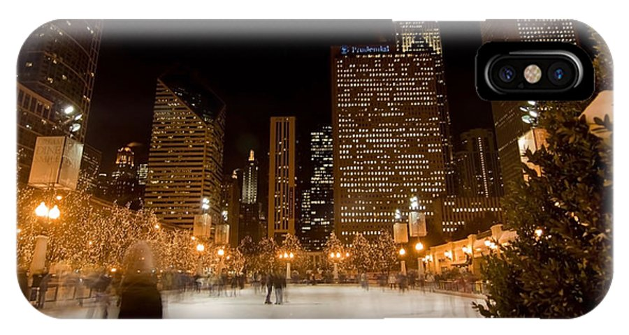 Ice Rink IPhone X Case featuring the photograph Ice Skaters And Chicago Skyline by Sven Brogren