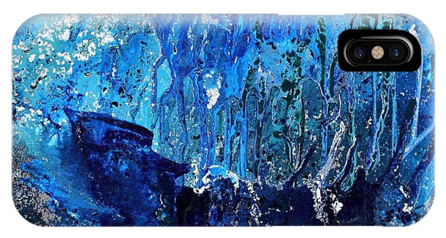 Blue Painting IPhone X Case featuring the painting Ice Storm by Karin Kohlmeier