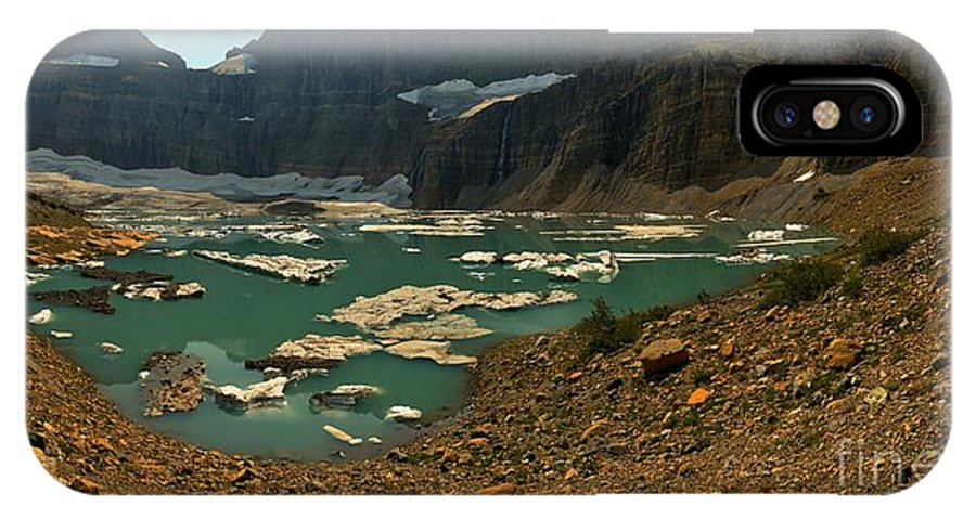 Grinnell IPhone X / XS Case featuring the photograph Icebergs Below Grinnell Glacier by Adam Jewell