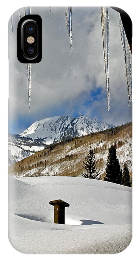 Winter Landscape IPhone X / XS Case featuring the photograph Icicles In East Vail by David Salter
