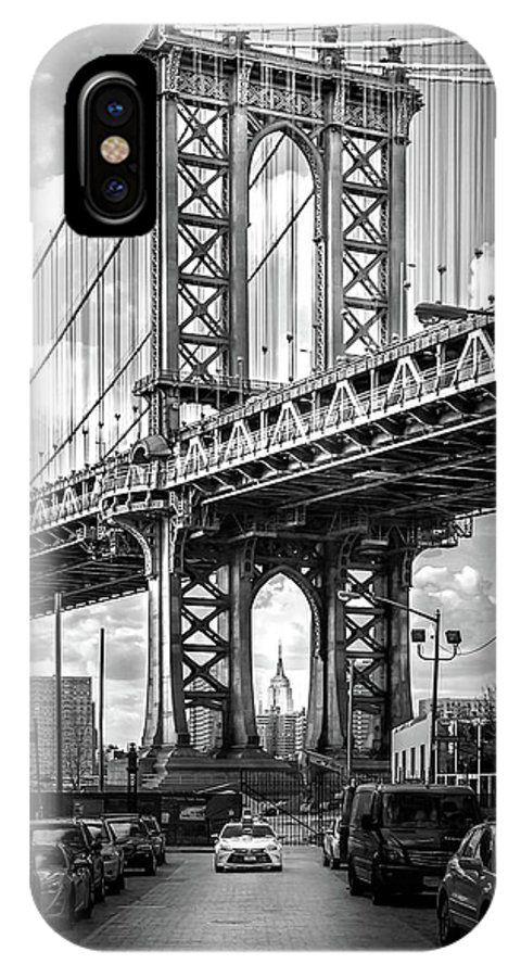 New York City IPhone X Case featuring the photograph Iconic Manhattan Bw by Az Jackson