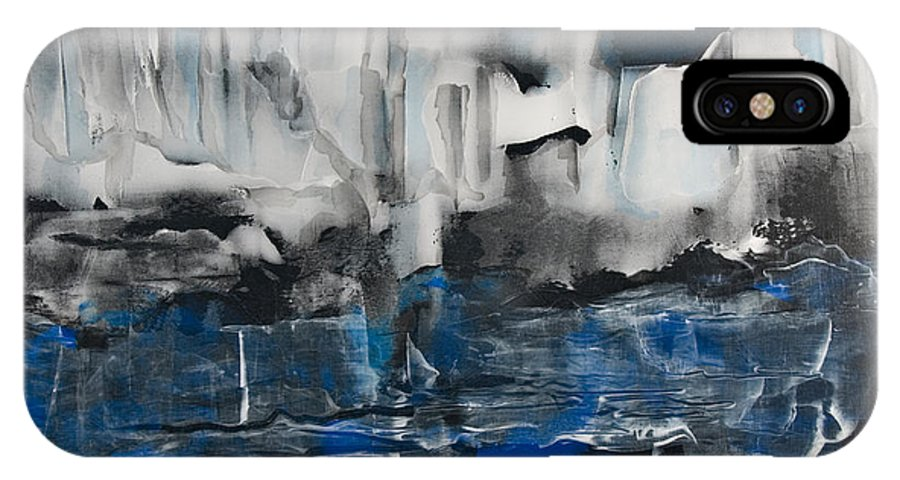 Icy IPhone X Case featuring the painting Icy Haven by Jacqueline Milner