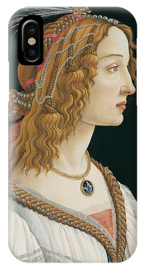 Sandro Botticelli IPhone X Case featuring the painting Idealized Portrait Of A Lady by Sandro Botticelli