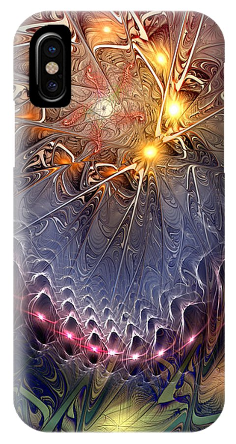 Abstract IPhone X Case featuring the digital art Ideological Subterfuge by Casey Kotas