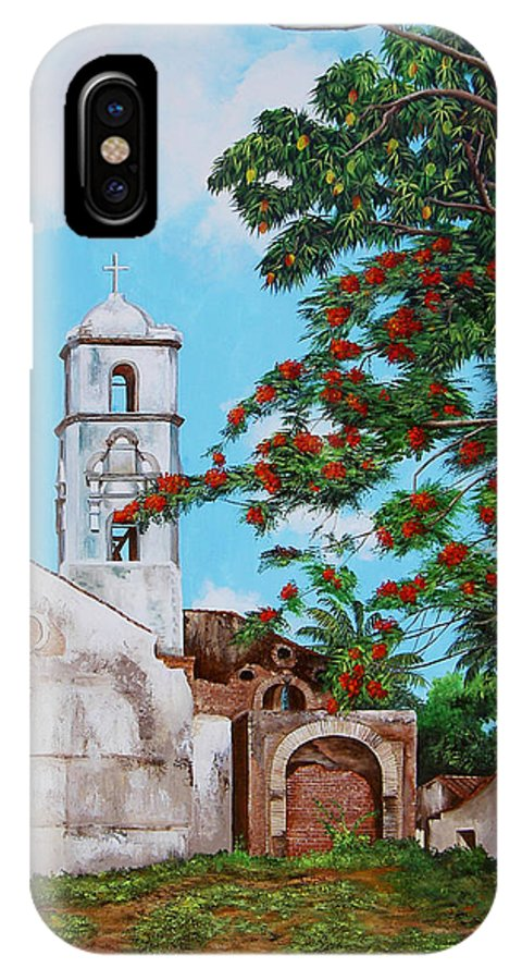 Cuban Painter IPhone X Case featuring the painting Iglesia De Santa Anna by Dominica Alcantara