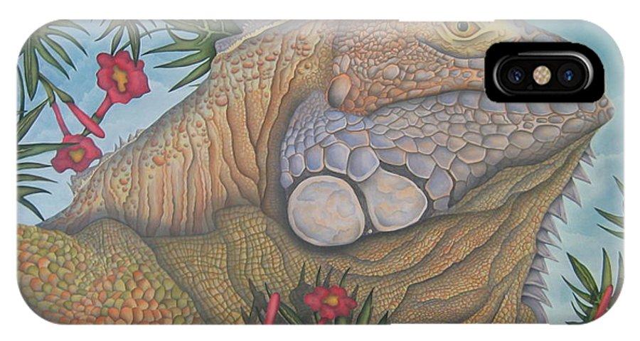 Lizard IPhone X Case featuring the painting Iguana Iguana by Jeniffer Stapher-Thomas