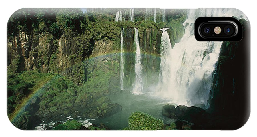 Day IPhone X Case featuring the photograph Iguazu Waterfalls With A Rainbow by Roy Toft