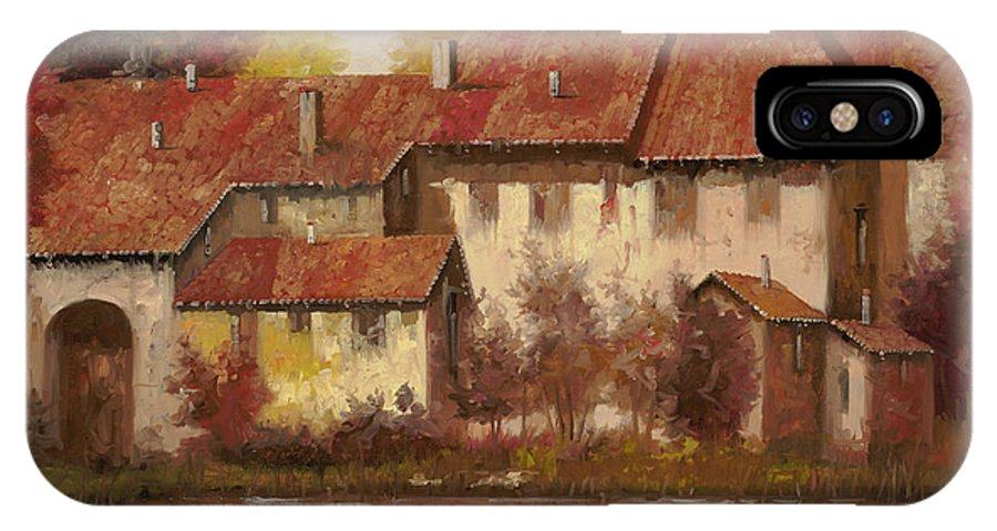 Landscape IPhone X Case featuring the painting Il Borgo Rosso by Guido Borelli
