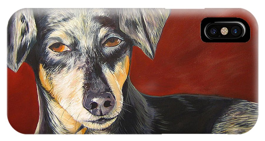 Dog IPhone X Case featuring the painting I'll Be With You Momentarily by Hunter Jay