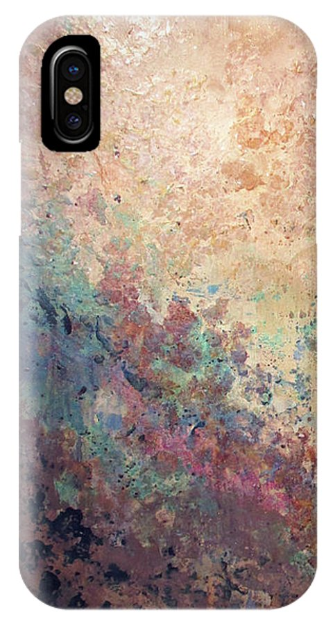 Mica IPhone X Case featuring the painting Illuminated Valley I Diptych by Shadia Derbyshire