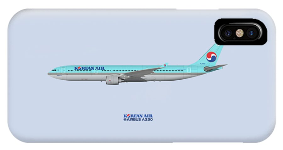 Airbus IPhone X Case featuring the digital art Illustration Of Korean Air Airbus A330-300 - Blue Version by Steve H Clark Photography