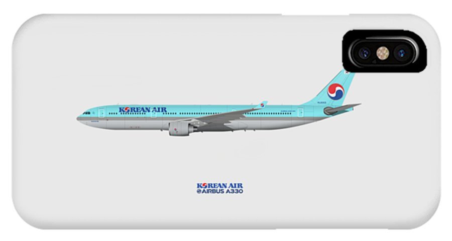 Airbus IPhone X Case featuring the digital art Illustration Of Korean Air Airbus A330-300 by Steve H Clark Photography