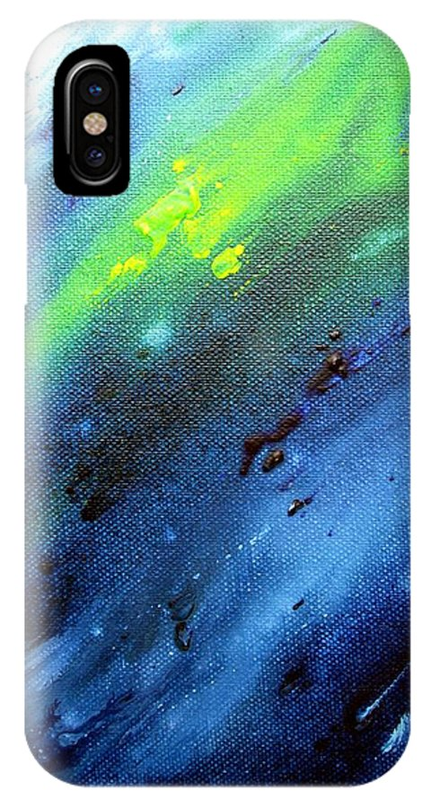Blue IPhone X Case featuring the painting Im Fluss by Sabine Steldinger