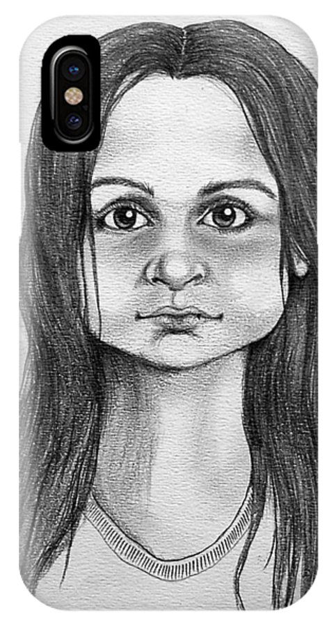 Portrait IPhone X Case featuring the drawing Immigrant Girl by Marco Morales