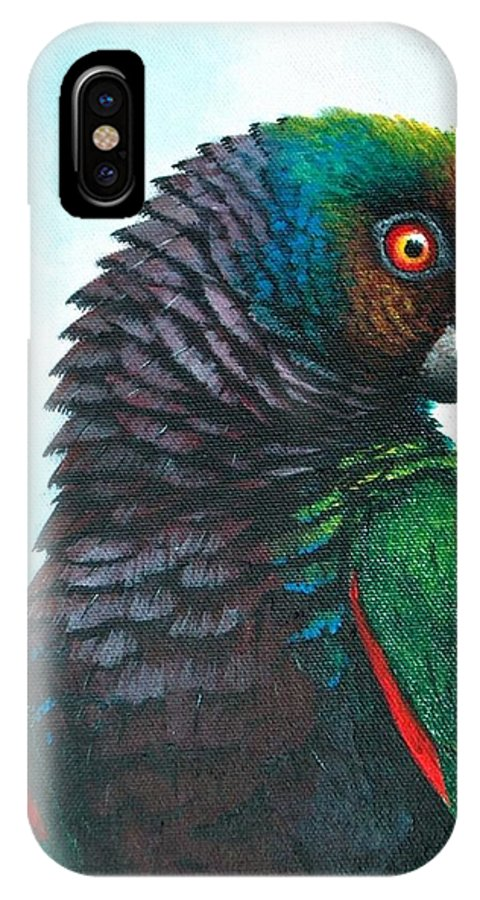 Chris Cox IPhone X Case featuring the painting Imperial Parrot by Christopher Cox