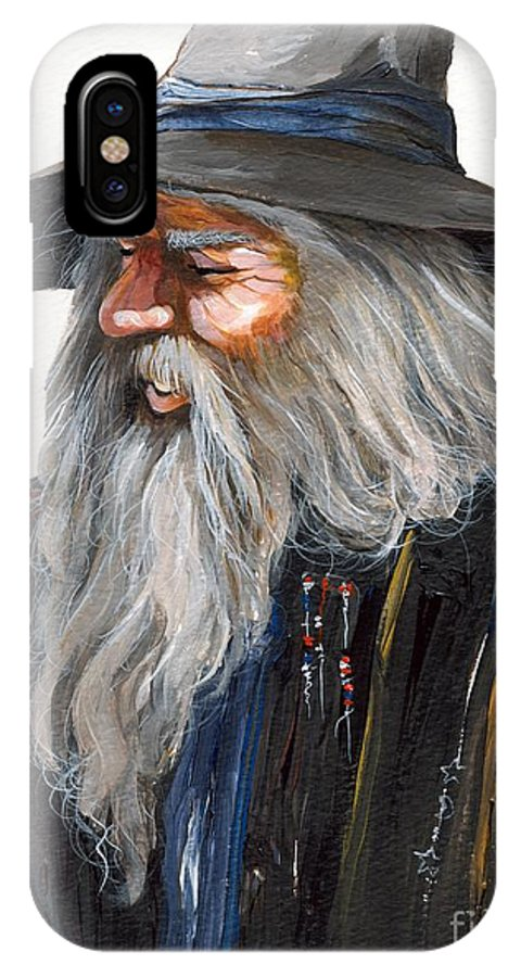 Fantasy Art IPhone X Case featuring the painting Impressionist Wizard by J W Baker