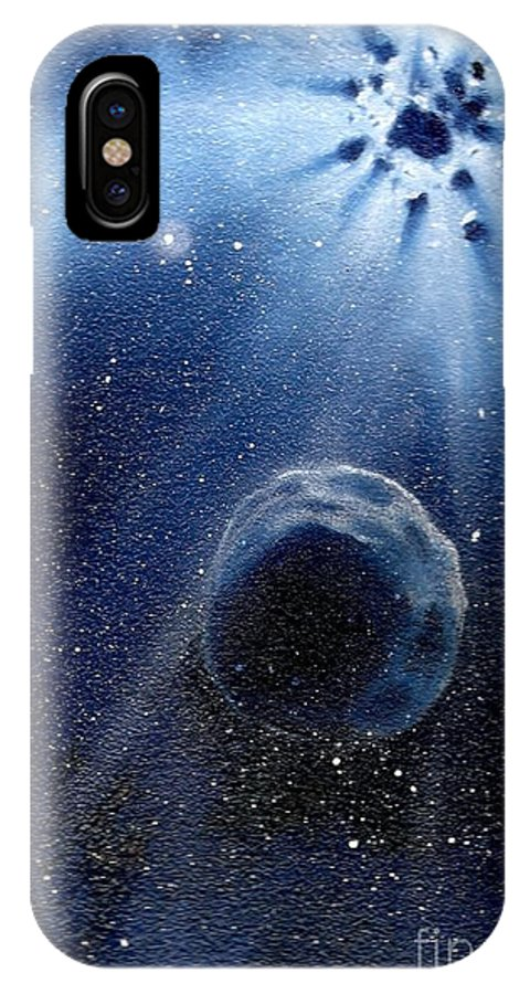 Outerspace IPhone X Case featuring the painting Impressive Impact by Murphy Elliott