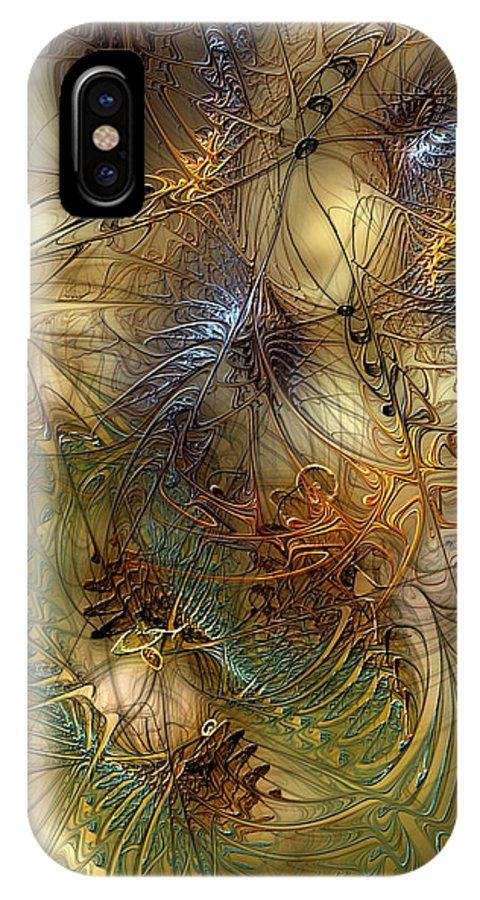 Abstract IPhone X Case featuring the digital art Improvisation For Mahavishnu by Casey Kotas