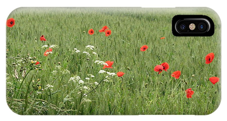 Lest-we Forget IPhone X Case featuring the photograph in Flanders Fields the poppies blow by Mary Ellen Mueller Legault
