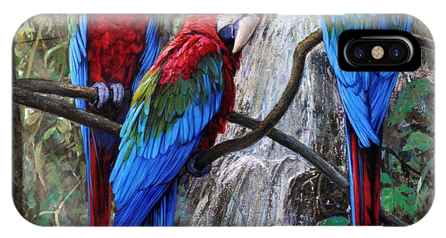 Macaws IPhone X Case featuring the painting In Front Of The Cascade by Gabriel Hermida