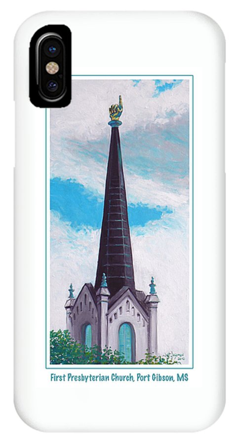Church IPhone X Case featuring the painting In Port Gibson Ms by Jeanette Jarmon