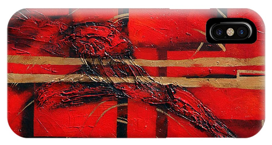 Abstract.red. Gold IPhone Case featuring the painting In Red by Milda Aleknaite