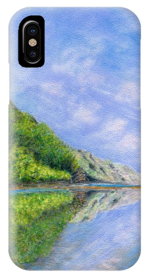 Rainbow Colors Pastel IPhone X Case featuring the painting In Reflection by Kenneth Grzesik