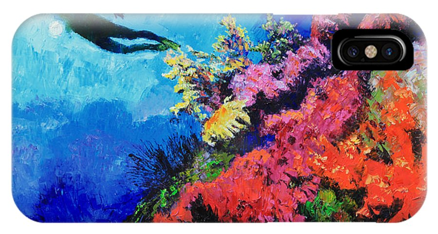 Scuba Diver IPhone X / XS Case featuring the painting In Search Of The Creator by John Lautermilch