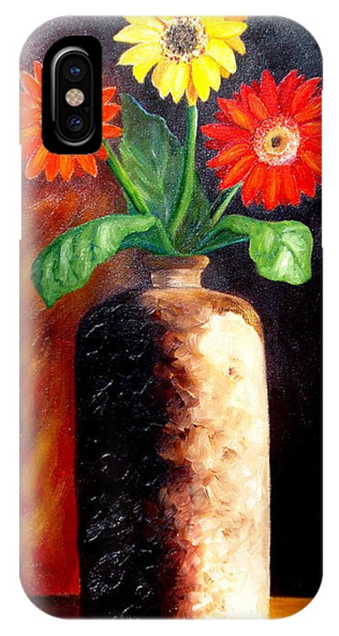 Gergbera Daisies IPhone X Case featuring the painting In Sharp Contrast. Sold by Susan Dehlinger