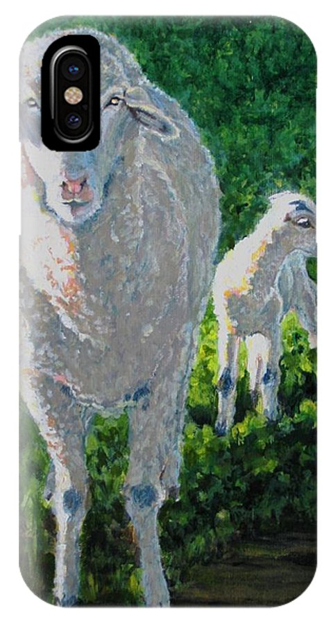 Sheep IPhone X Case featuring the painting In Sheep's Clothing by Karen Ilari