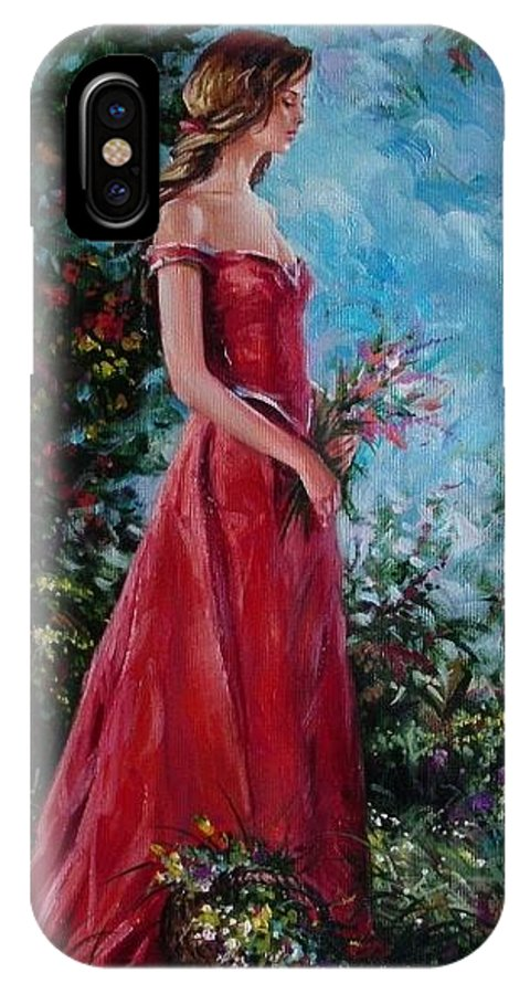 Figurative IPhone X Case featuring the painting In summer garden by Sergey Ignatenko