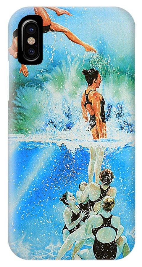 Swimming IPhone X Case featuring the painting In Sync by Hanne Lore Koehler