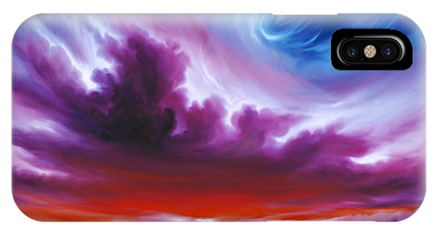 Sunrise; Sunset; Power; Glory; Cloudscape; Skyscape; Purple; Red; Blue; Stunning; Landscape; James C. Hill; James Christopher Hill; Jameshillgallery.com; Ocean; Lakes; Genesis; Creation; Quantom; Singularity IPhone X Case featuring the painting In The Beginning by James Christopher Hill