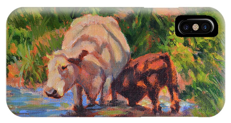 Impressionism IPhone X Case featuring the painting In The Creek by Keith Burgess
